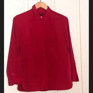 Talbots Tops - Talbots True Red Tuxedo Front Blouse 💎Button